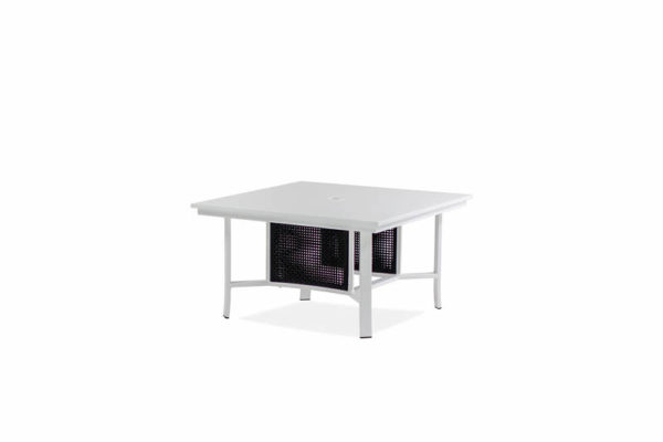 Parkview Woven – 42 Sq Chat Table – Textured White – Blk Woven IMG_1159-_800x800